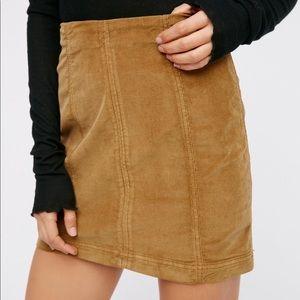 free people corduroy brown modern femme skirt
